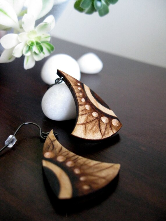 Wooden Earrings - Pyrography Earrings, Opposites, Yin Yang