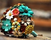 Wedding Brooch Bouquet - Soft Fall or Summer, teal, brown, yellow, orange, red, ivory, yellow, blue, silver, black with a butterfly