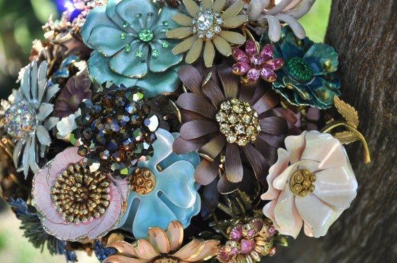 Brooch Bouquet for your Wedding in soft Jeweled Tones Mixed colors with chocolate ribbon, wedding bouquet, bridal bouquet
