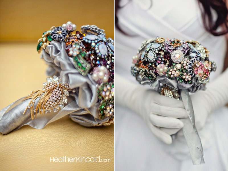 Bridal Bouquet Made Of Jewels : Custom wedding jewelry brooch bouquet to fit by