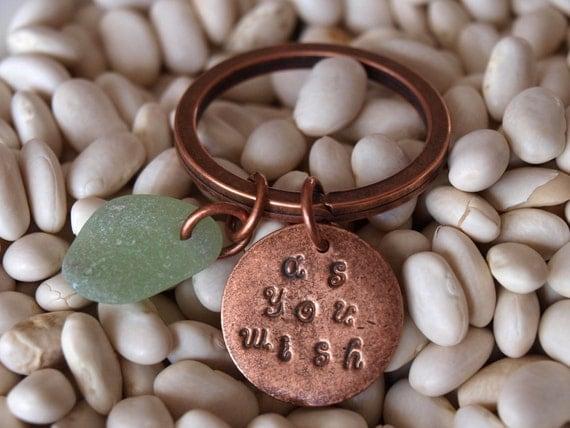 Handstamped Copper Keyring As You Wish