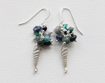 S A L E : 50% O F F /// Oceanic Unicorn Horn Earrings // bloodstone, apatite, ocean jasper, turquoise, lapis, onyx, hematite