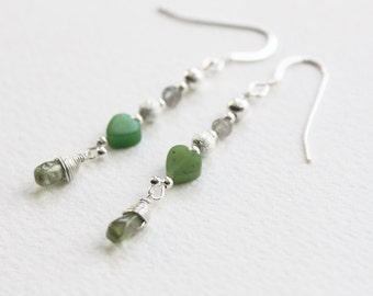 S A L E ! // Greenheart Earrings // chrysophrase, peridot, labradorite and sterling silver