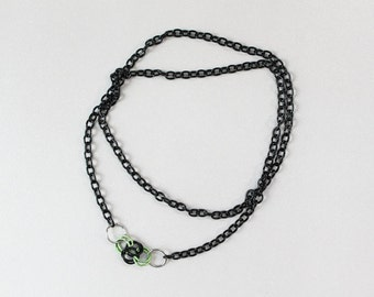 Black, Silver and Lime Byzantine Chain Necklace