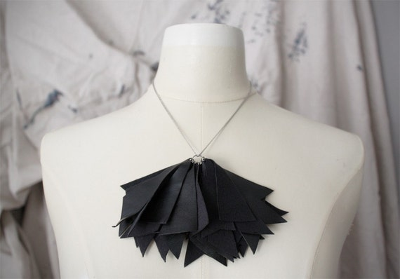 Black Faux Leather Spikes Necklace