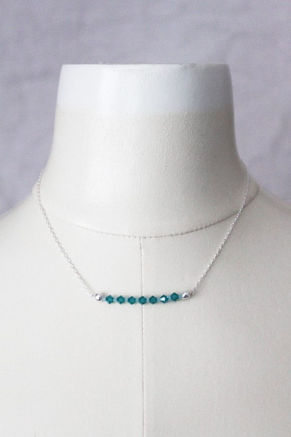 Reserved for Alyson // Tranquil Ocean Necklace --- teal Swarovski crystals, sterling silver and pastel seed beads