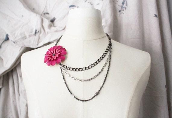 Bold Hot Pink Flower Necklace