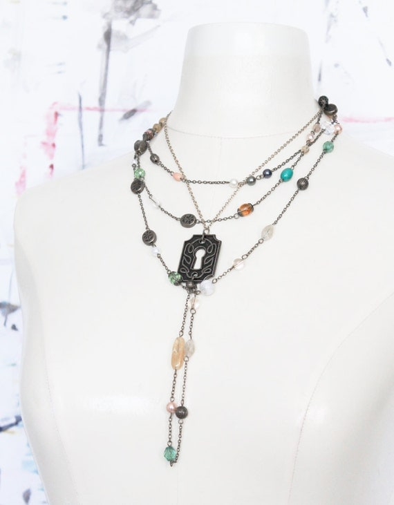 Secret Garden Necklace // many different beads, multicolor // CLEARANCE SALE