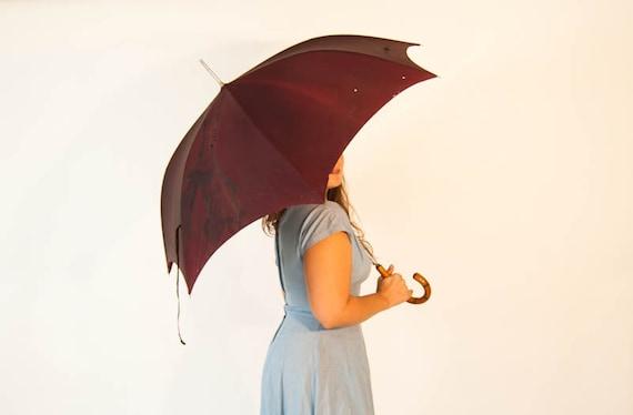 Late Victorian early Edwardian Silk Parasol Umbrella // PK Polan Katz Parasol with Wood Handle Industrial Steam Punk