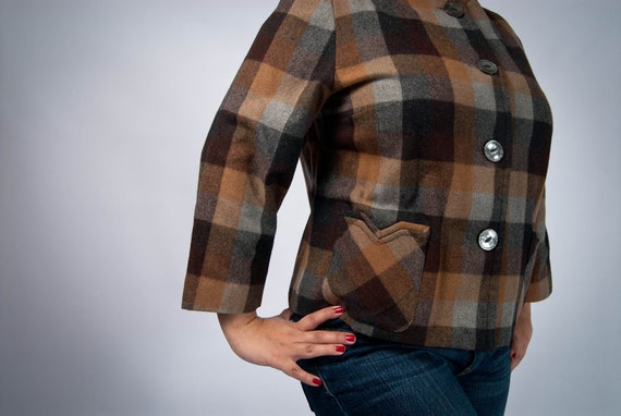 Sale // WWII Era Brown and Charcoal 49er jacket M // Pendleton Style Rockabilly vlv