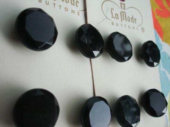 NOS Vintage 1940s 1950s Black Diamond Faceted Glass Buttons // La Mode