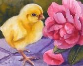 Fine Art Animal Print Baby Chick Pink Rose Flower Art 8x10 by Janet Zeh
