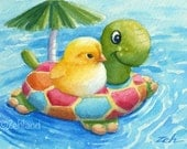 Art Print for Nursery 8x10 Baby Chick in Pool Ferdinand and Nina Watercolor by Janet Zeh