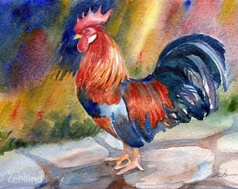 Rooster Print Watercolor 8x10 Wall Art for Kitchen by Janet Zeh