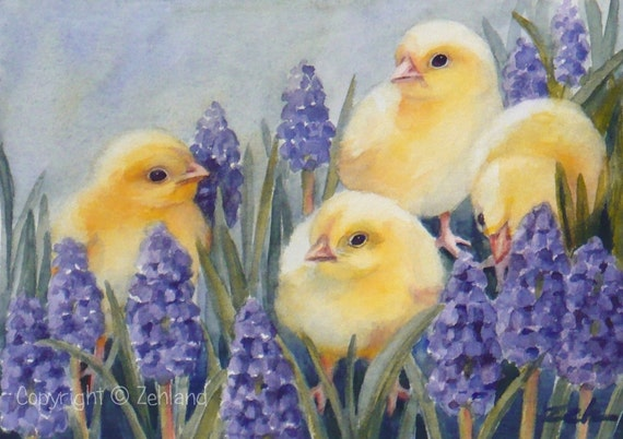 Baby Chicks Print on Paper Purple Flowers 8x10 Unframed Watercolor Art by Janet Zeh