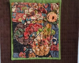 Fiber Art Small Quilt Kimono Wall Hanging
