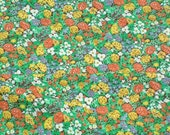 SALE Vintage 1950s Cotton Floral Orange Yellow Cute Flower Fabric