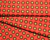 RESERVED for Maryka Tomato Soup Red Orange Geometric Fabric  print Chartreuse Dots Wagon Wheels