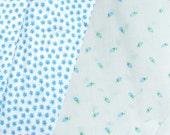 SALE DESTASH Blue floral Fabric Lot scraps CUTTERS art project cotton