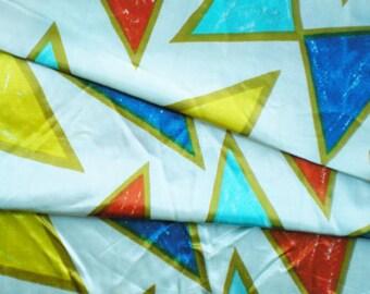 SALE Vintage 70s Orange Blue Triangles Novelty Print Cotton Fabric Yardage