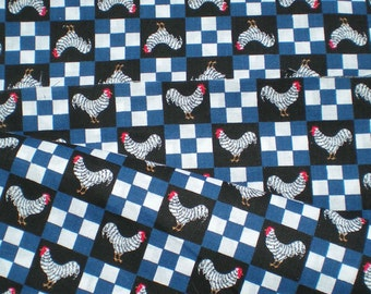 Vintage Style 90's Chicken Rooster Blue white Checkers Cotton Fabric Yardage