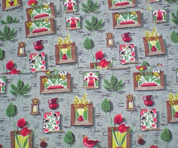 Vintage 1950s 60s  Dutch Kitchen Chicken Bird Plants Cotton Fabric Yardage