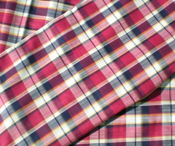 RESERVED for Andrew Vintage 1950's Plaid Fabric Cranberry Yellow Blue Fun Print Yardage