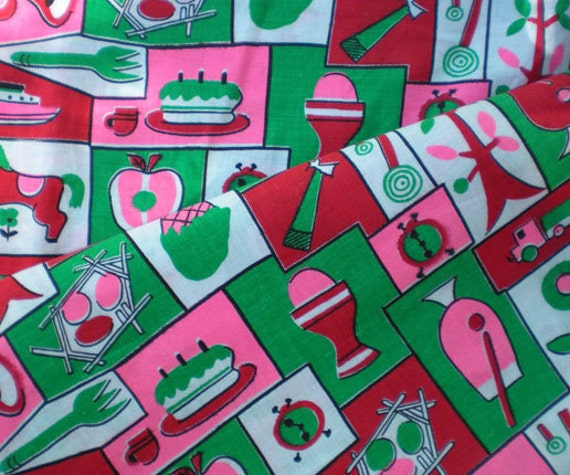 RESERVED for Gofukusuzuki Vintage 1950s Novelty Print Candy Toys Birthday Ships Apples Drinks Ice Cream Cotton Fabric