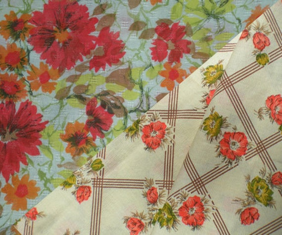 Vintage 1950s Orange Floral Print geometric Fabric Garden textile Manes