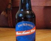 Homebrew custom beer label - oval hops banner