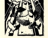 An Exaltation of Larks - block print