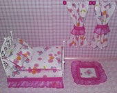 Dolls House Miniature 12th Scale Pink Butterfly Bedding Set