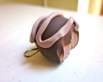 Polymer Clay Dark Chocolate Truffle Charm