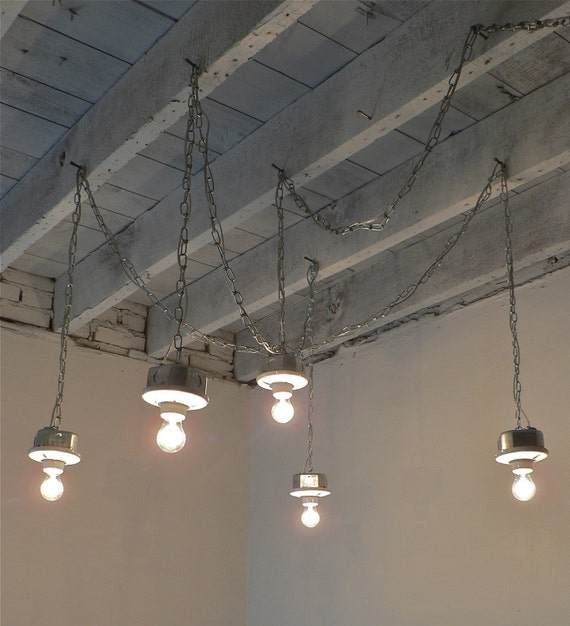 rain handcrafted 5 light plug in galvanized interior industrial loft. Black Bedroom Furniture Sets. Home Design Ideas