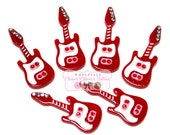 Guitar Cabochons - Red Rock & Roll Guitar Embellishments - Wholesale Cabochons - Guitar -  Wholesale Embellishments