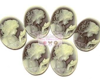 Angel Embellishments - Set of 6 - 30 mm X 40 mm Embellishments - Angel Cameo - Vintage Embellishment - Cameo for jewelry making