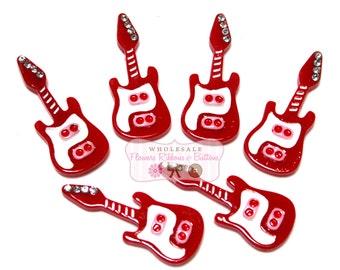 Red Rock & Roll Guitar Cabochons - Guitar Embellishments - Wholesale Cabochons - Guitar -  Wholesale Embellishments