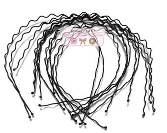 Black Metal 3 mm Zig Zag Headbands - Black Headbands- DIY Headbands - CLEARANCE - Set of 12-Whdolesale Metal Headbands