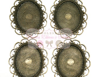Antique Bronze Loop Setting - 30 X 40mm - Set of 4 - Bronze Settings - Wholesale Photo Trays