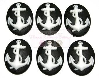 Black & White Anchor Cameo - 18 X 25 mm - Set of 6