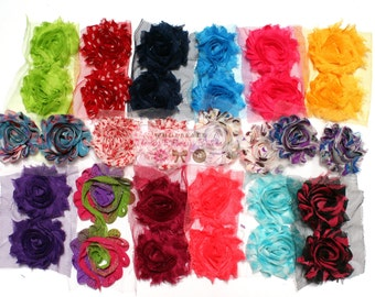 Grab Bag 50 Shabby Chiffon Trim Flowers - We Pick Colors - CLEARANCE - Shabby Chiffon Rose Trim - Wholesale Craft Supplies