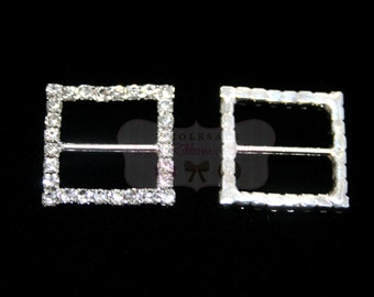 "Square Ribbon Rhinestone Slide/Buckle -  1 1/2"" - Wholesale Rhinestone Ribbon Slides - Set of  3"