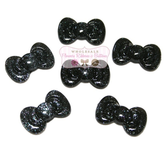 Black Glitter Bow 27 mm X 16 mm Cabochons- Wholesale Cabochons - Black resin bows - headband Supplies - Set of 6