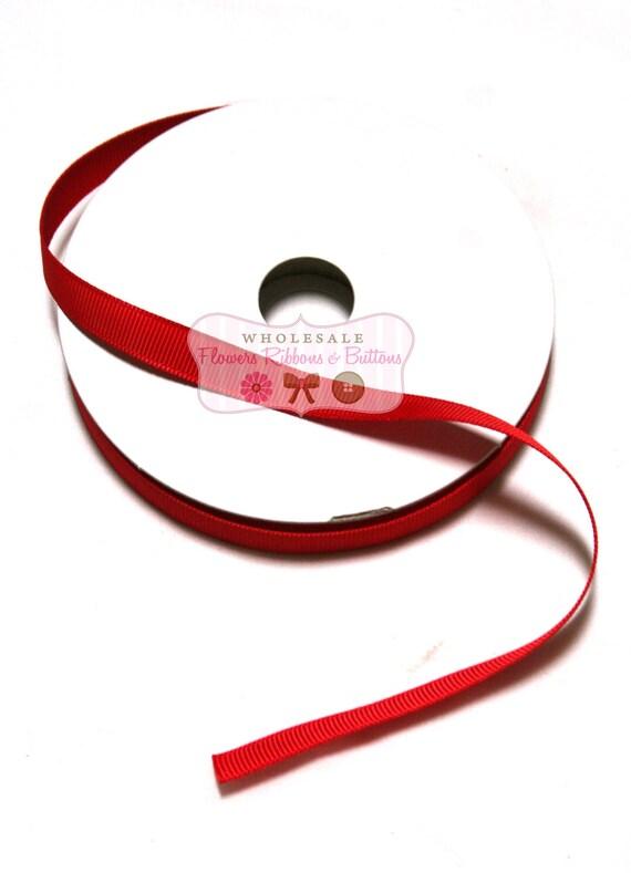 "Red Grosgrain Ribbon - 3/8"" - wholesale Ribbon - Korker bow ribbon- quality grosgrain ribbon - ribbon by the yard -  25 yards"