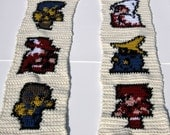 Final Fantasy Scarf with White Mage, Black Mage, Red Mage, Fighter, Thief, Black Belt