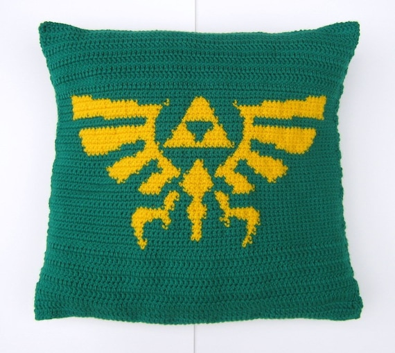 Zelda Throw Pillow : Legend of Zelda Throw Pillow with Triforce and Hyrule Crest