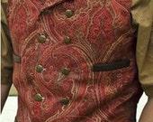Mans Steampunk Vest Southwestern Cowboy Groom Victorian Era Waistcoat Burning Man in Rust, Brown and Gold