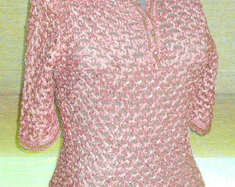 1950's Vintage Crochet Ribbon Top in Rose and Gold