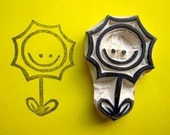 Happy Sun Flower Hand Carved Stamp