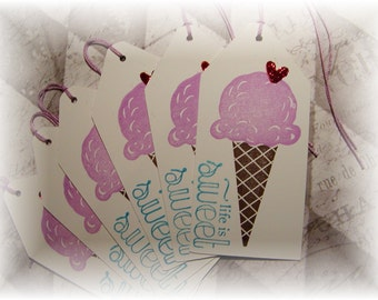 Life is Sweet - Ice cream Cone - Gift/ Hang Tags (6)